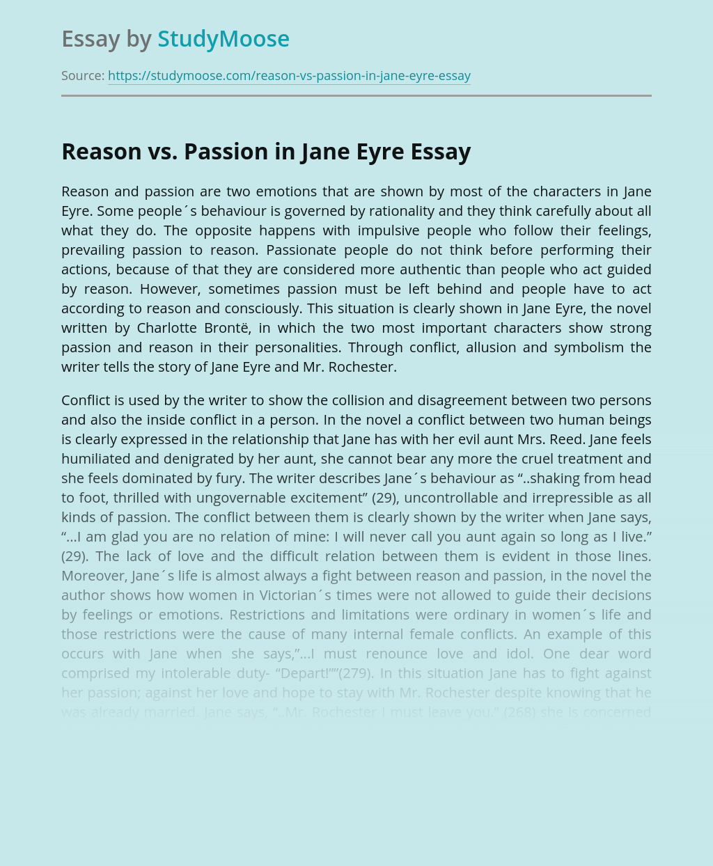 Reason vs. Passion in Jane Eyre