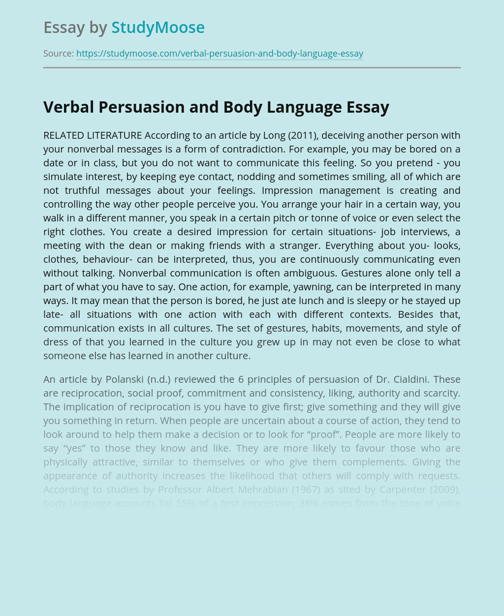 Verbal Persuasion and Body Language