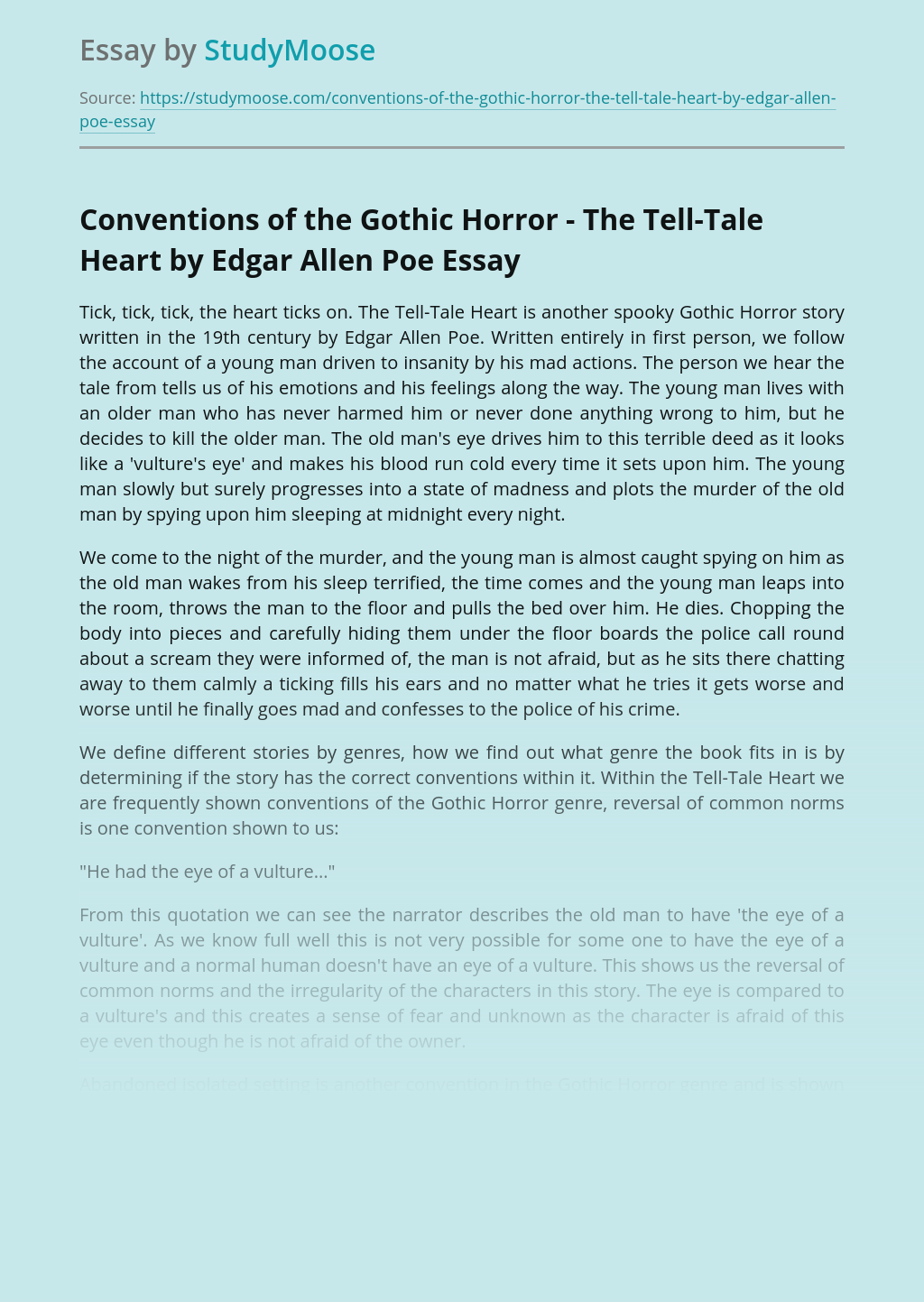Conventions of the Gothic Horror - The Tell-Tale Heart by Edgar Allen Poe