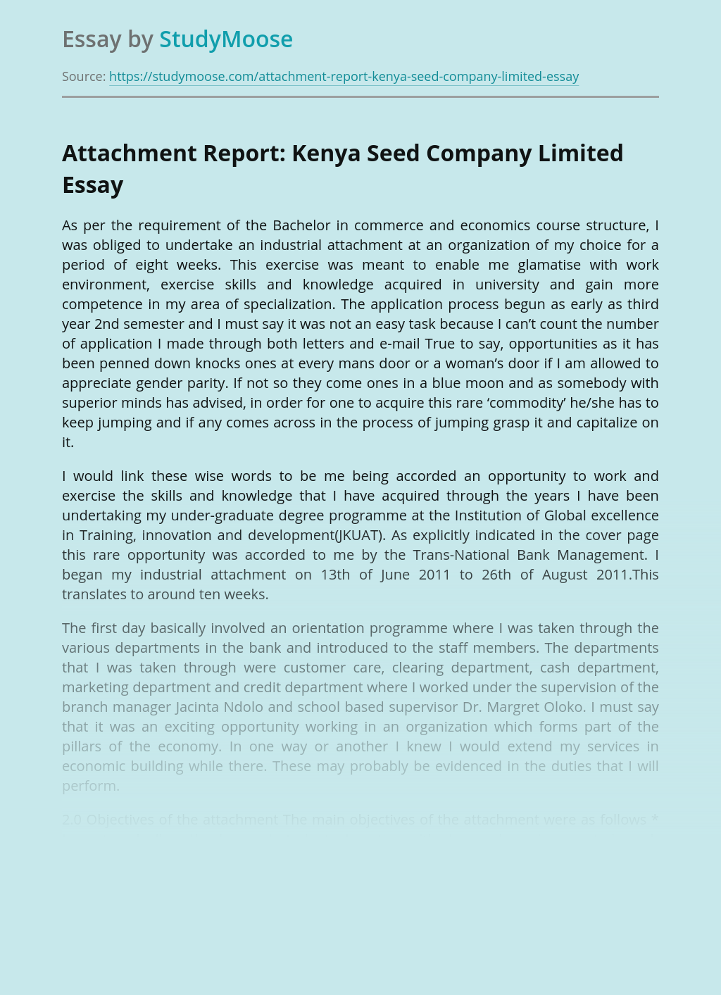 Attachment Report: Kenya Seed Company Limited