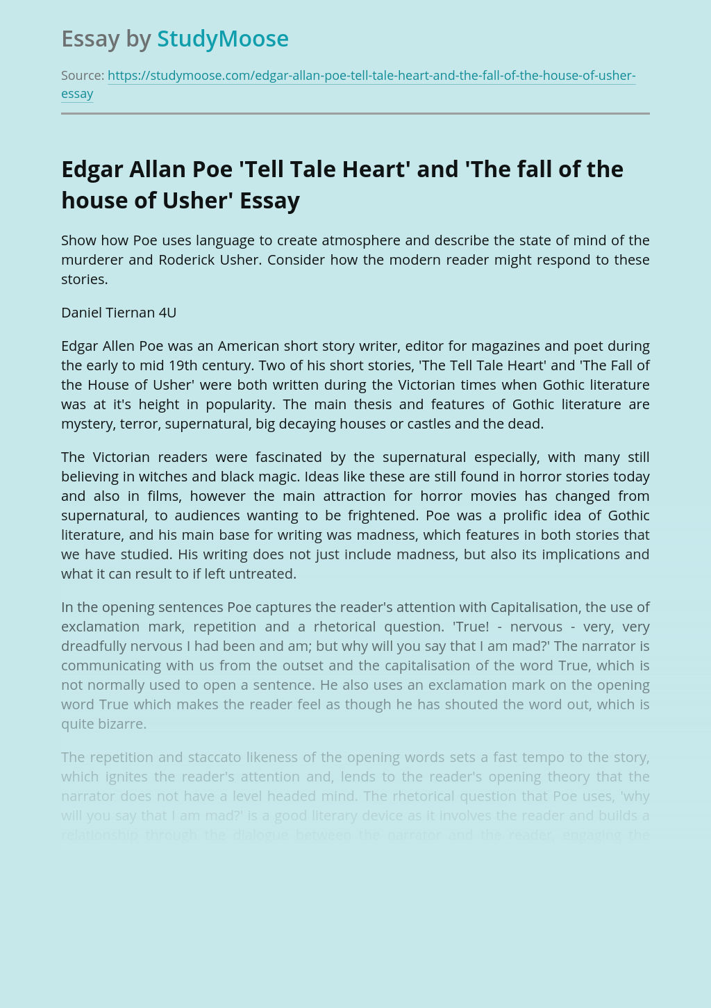 Edgar Allan Poe 'Tell Tale Heart' and 'The fall of the house of Usher'