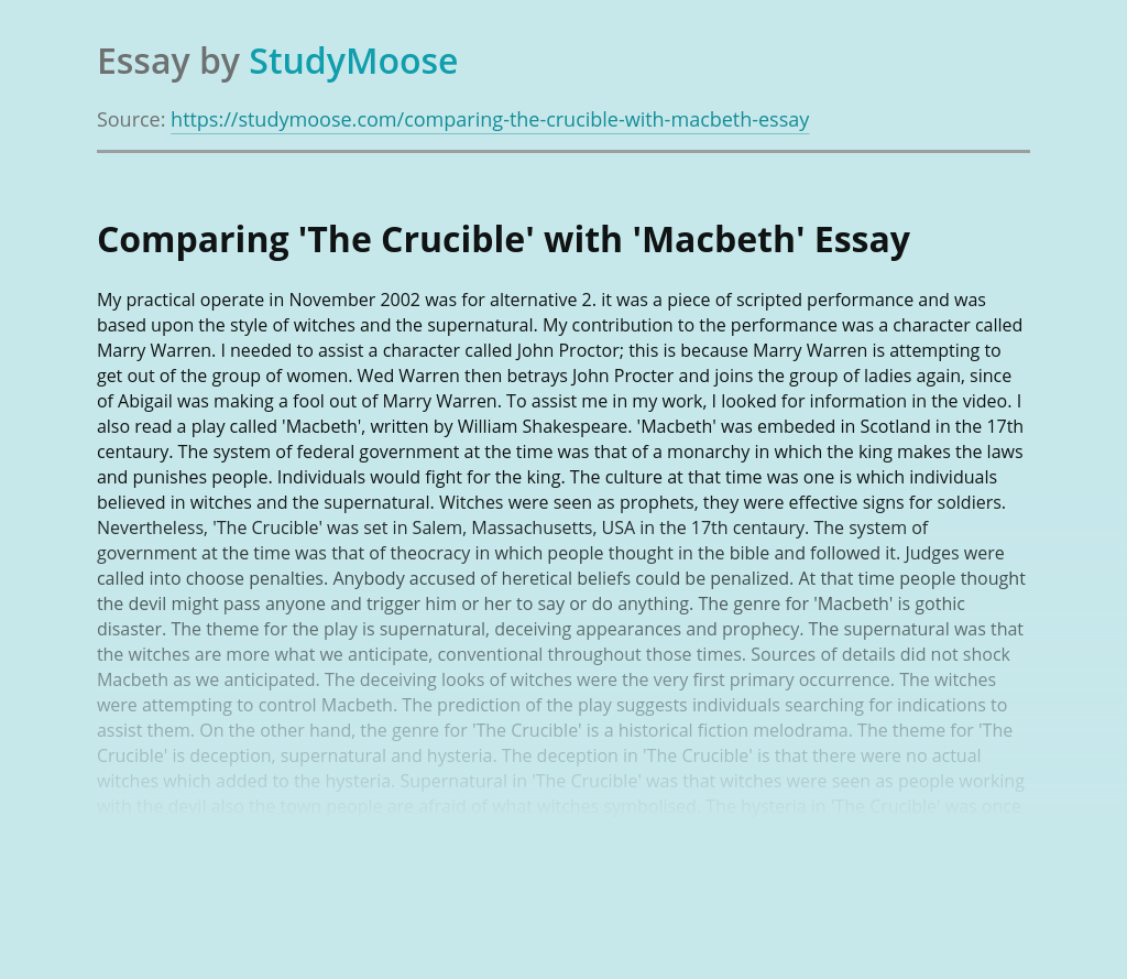 Comparing Palys The Crucible and Macbeth