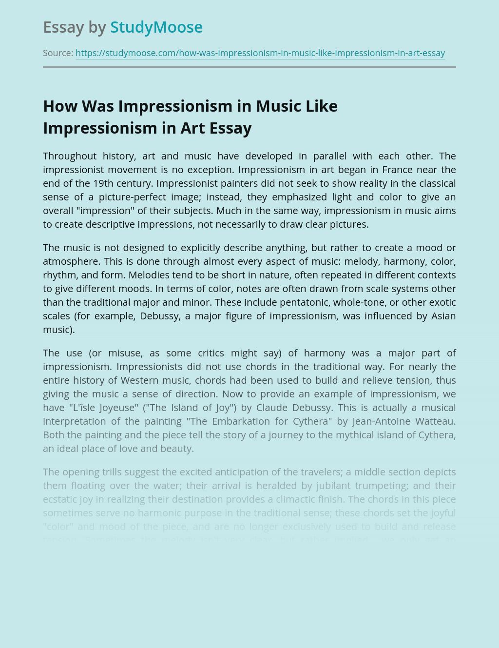 How Was Impressionism in Music Like Impressionism in Art
