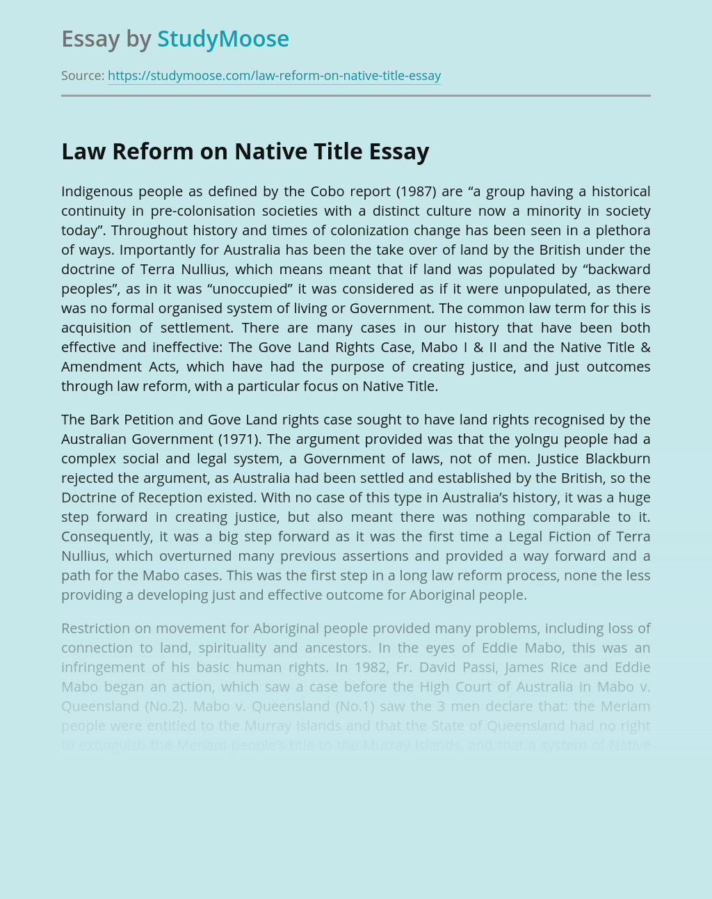 Law Reform on Native Title