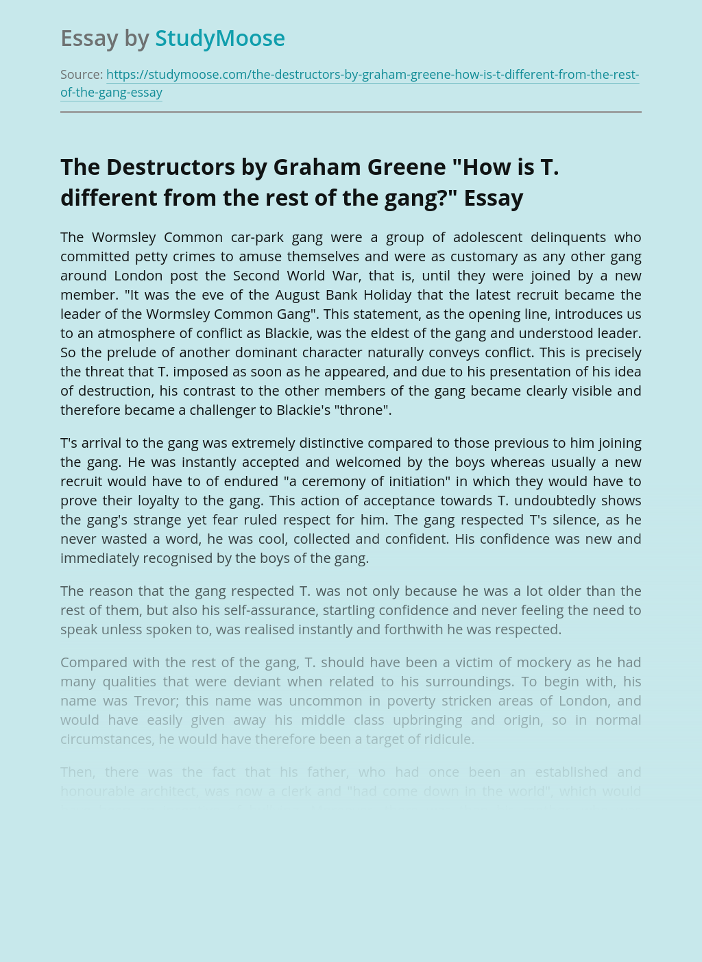 The Destructors by Graham Greene