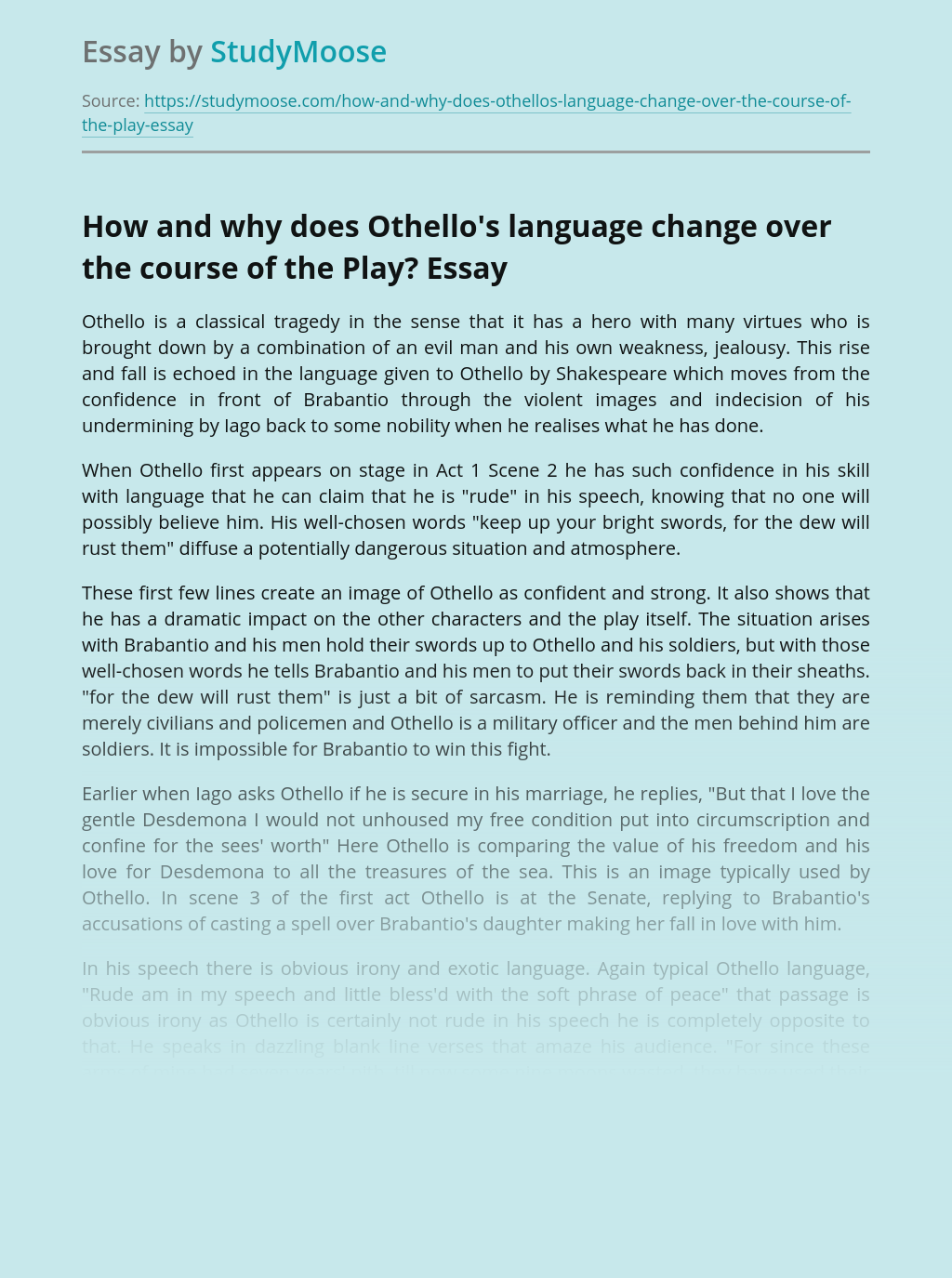 How and why does Othello's language change over the course of the Play?