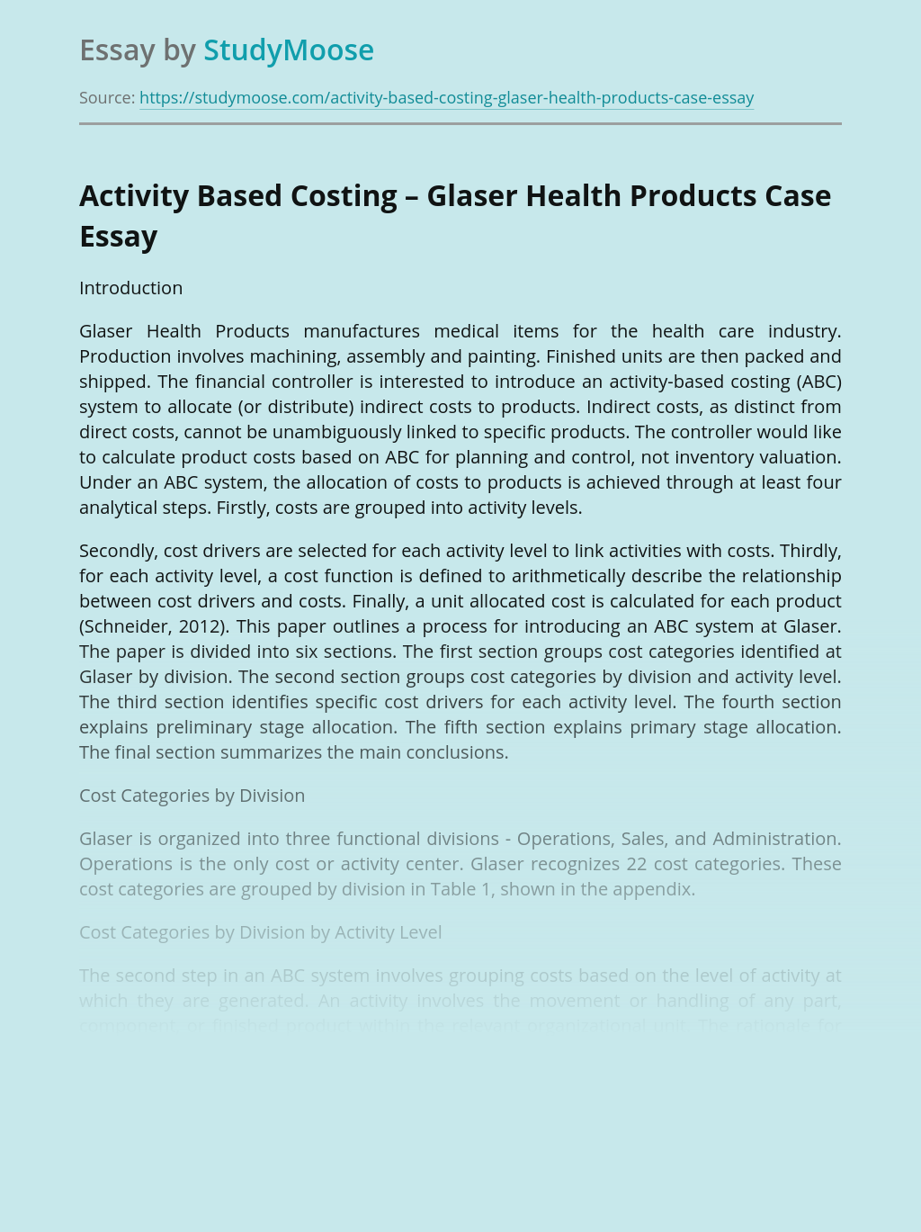 Activity Based Costing – Glaser Health Products Case