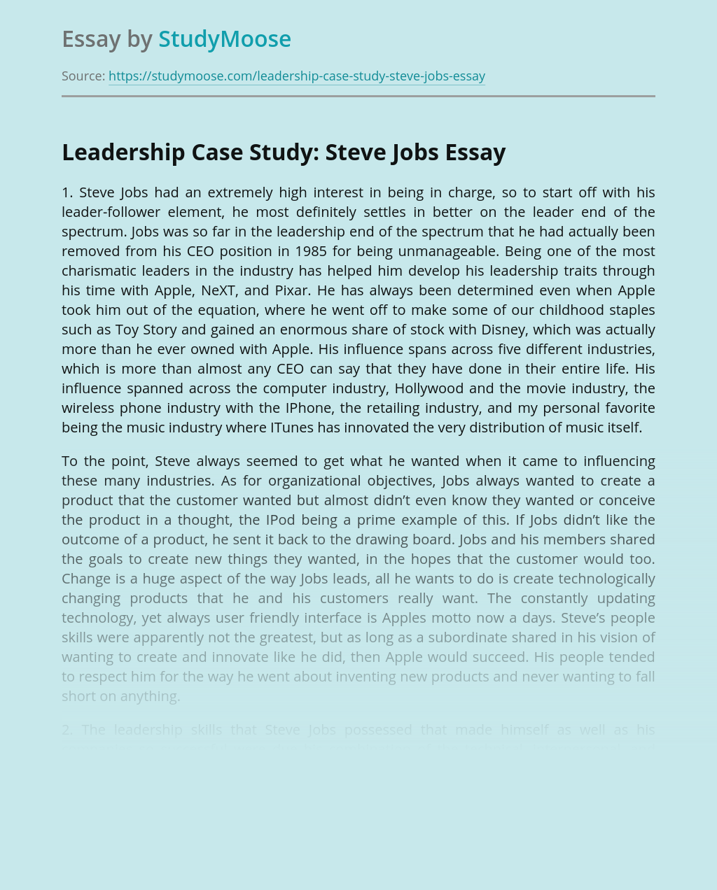 Leadership Case Study: Steve Jobs