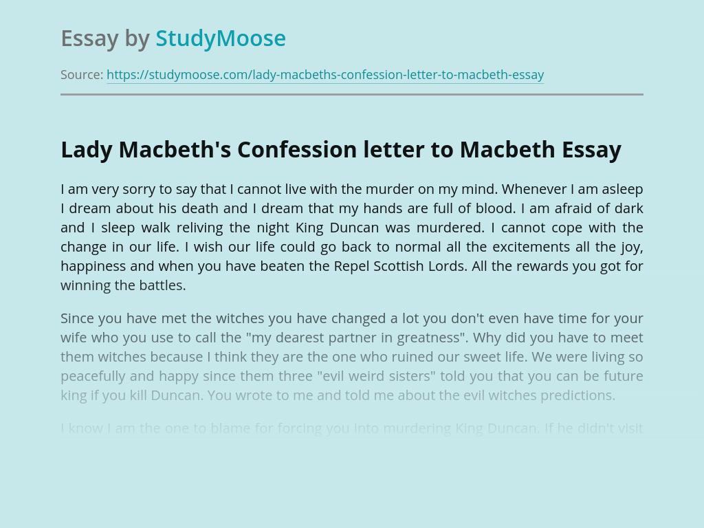 Lady Macbeth's Confession letter to Macbeth