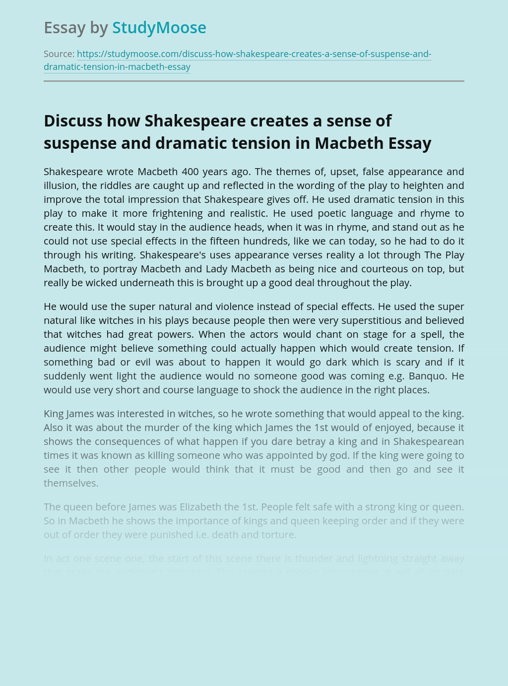 Discuss how Shakespeare creates a sense of suspense and dramatic tension in Macbeth