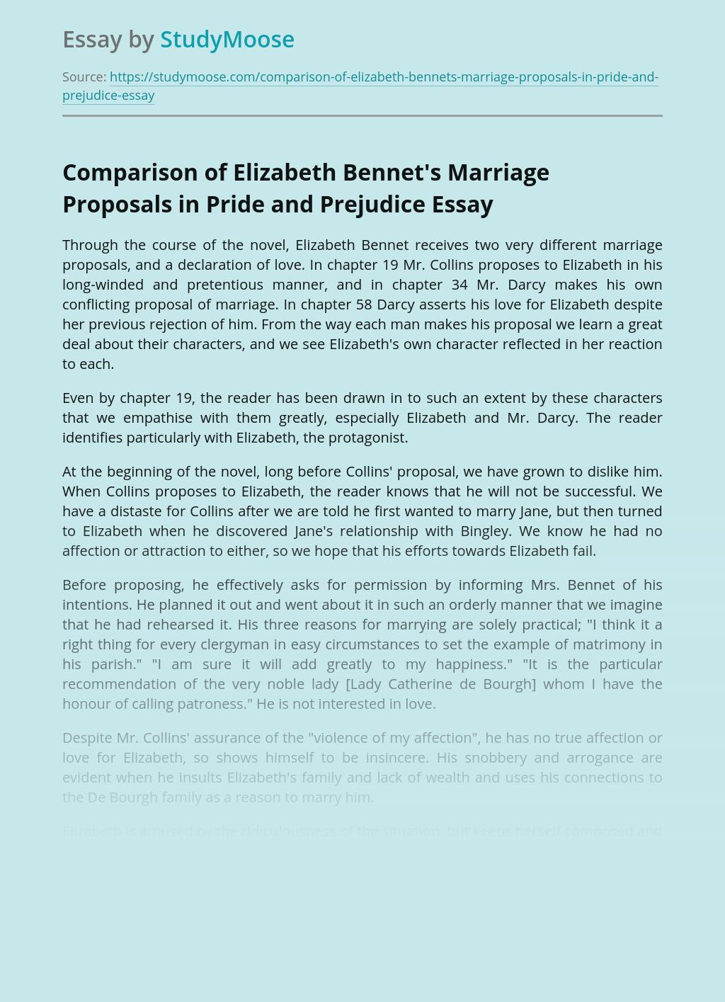 Comparison of Elizabeth Bennet's Marriage Proposals in Pride and Prejudice