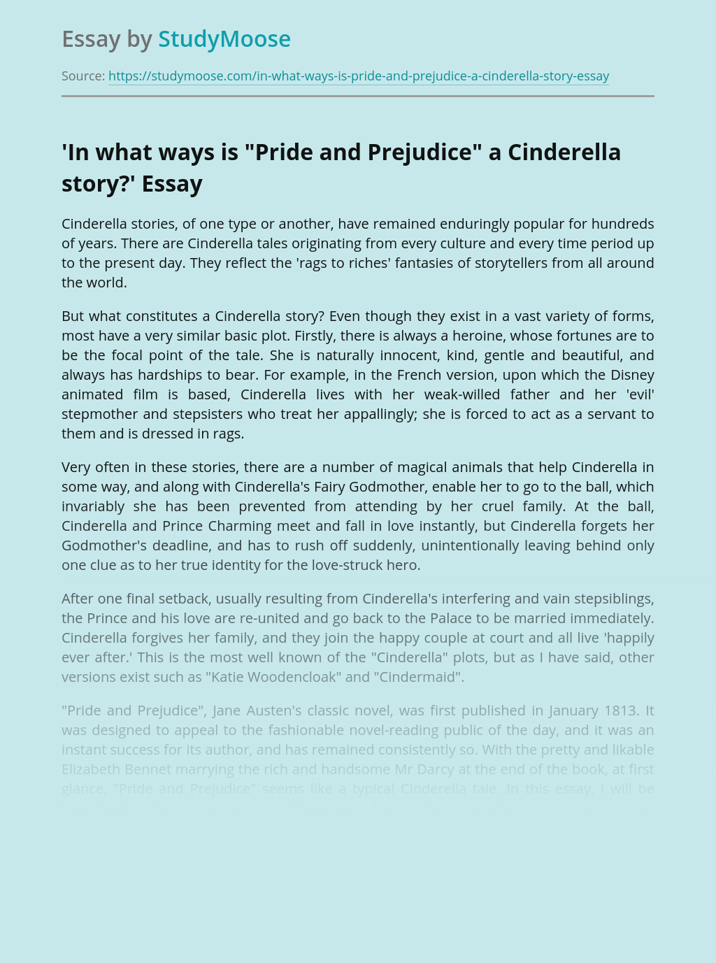 "'In what ways is ""Pride and Prejudice"" a Cinderella story?'"