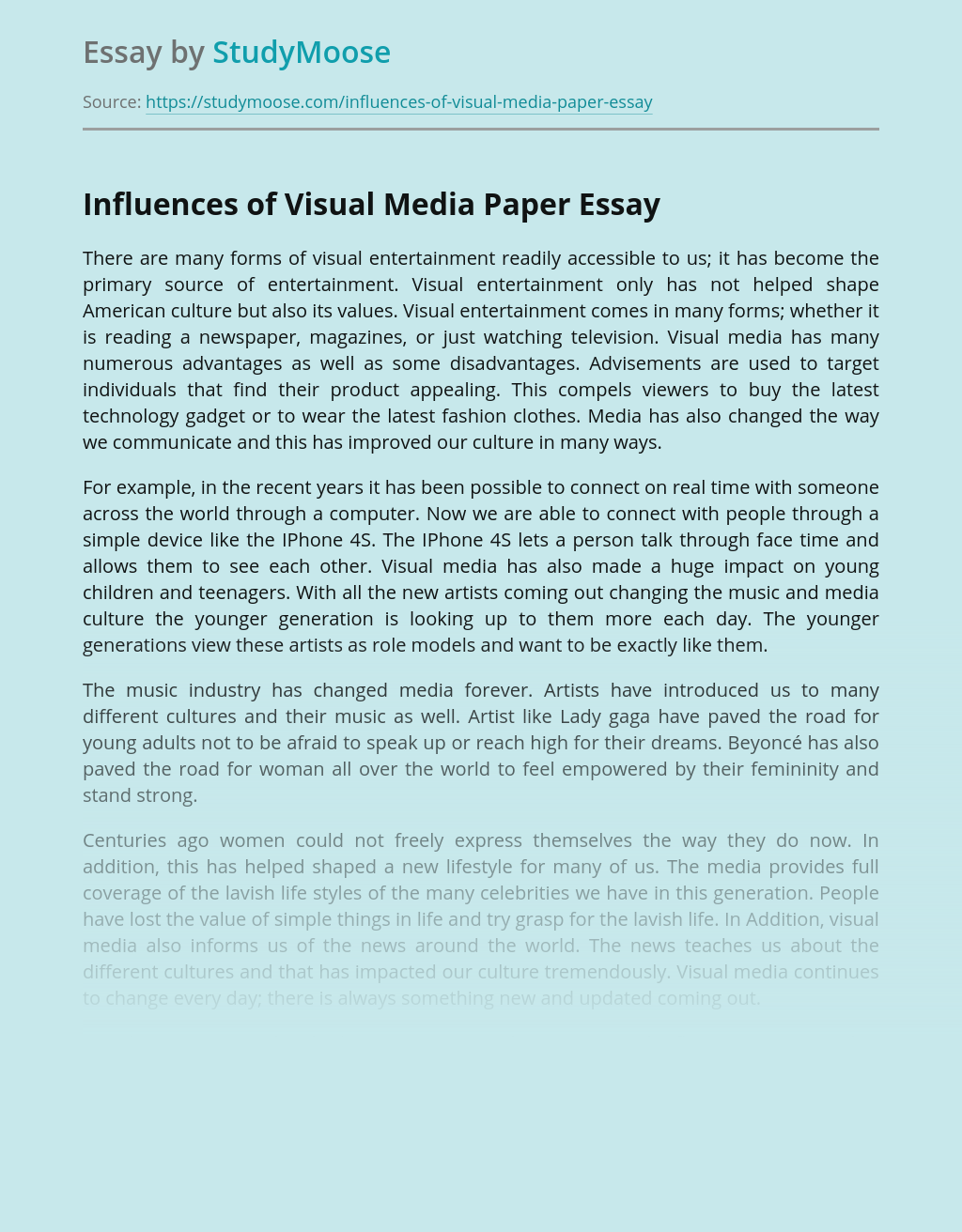 Influences of Visual Media Paper