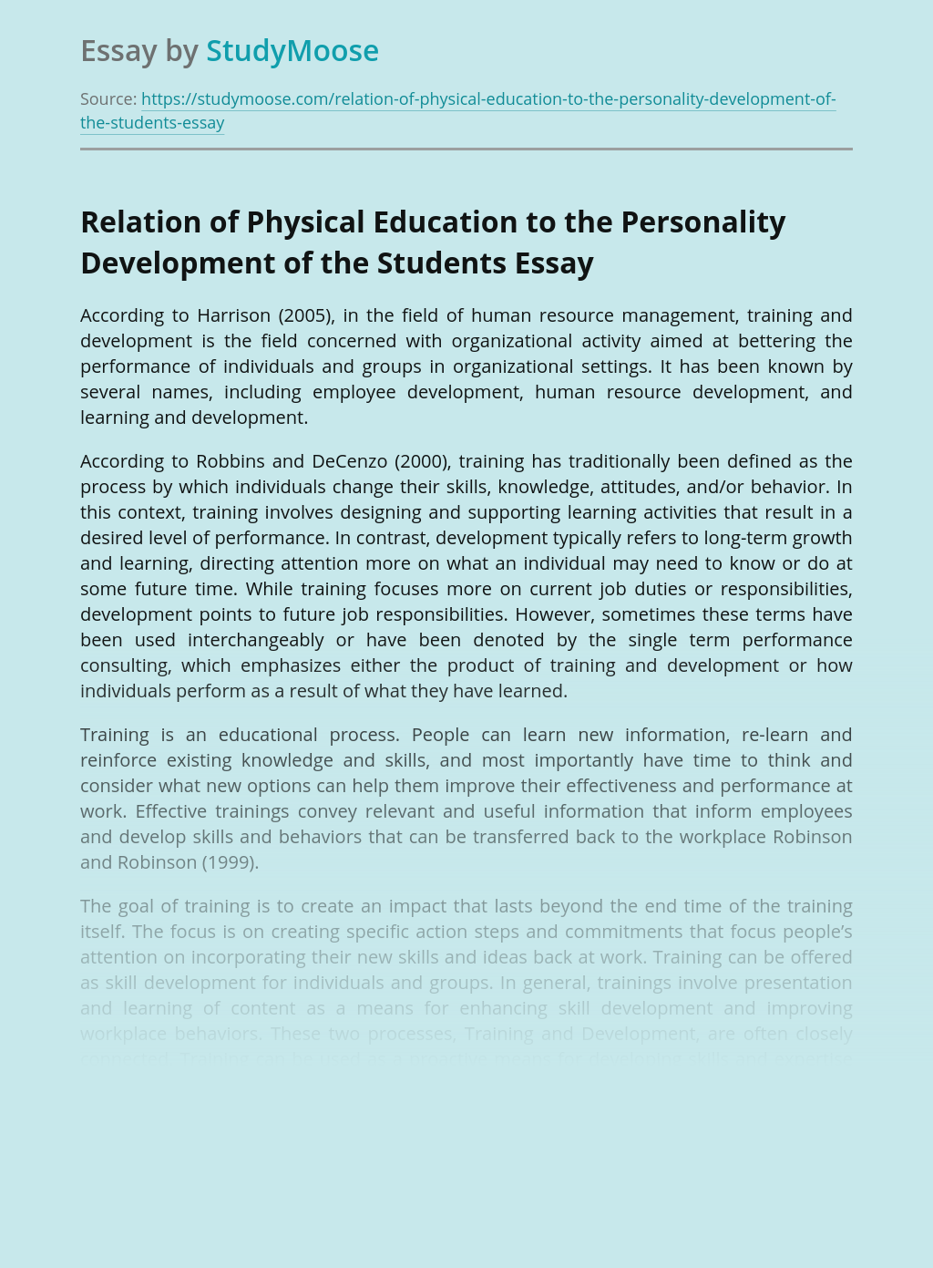 Relation of Physical Education to the Personality Development of the Students