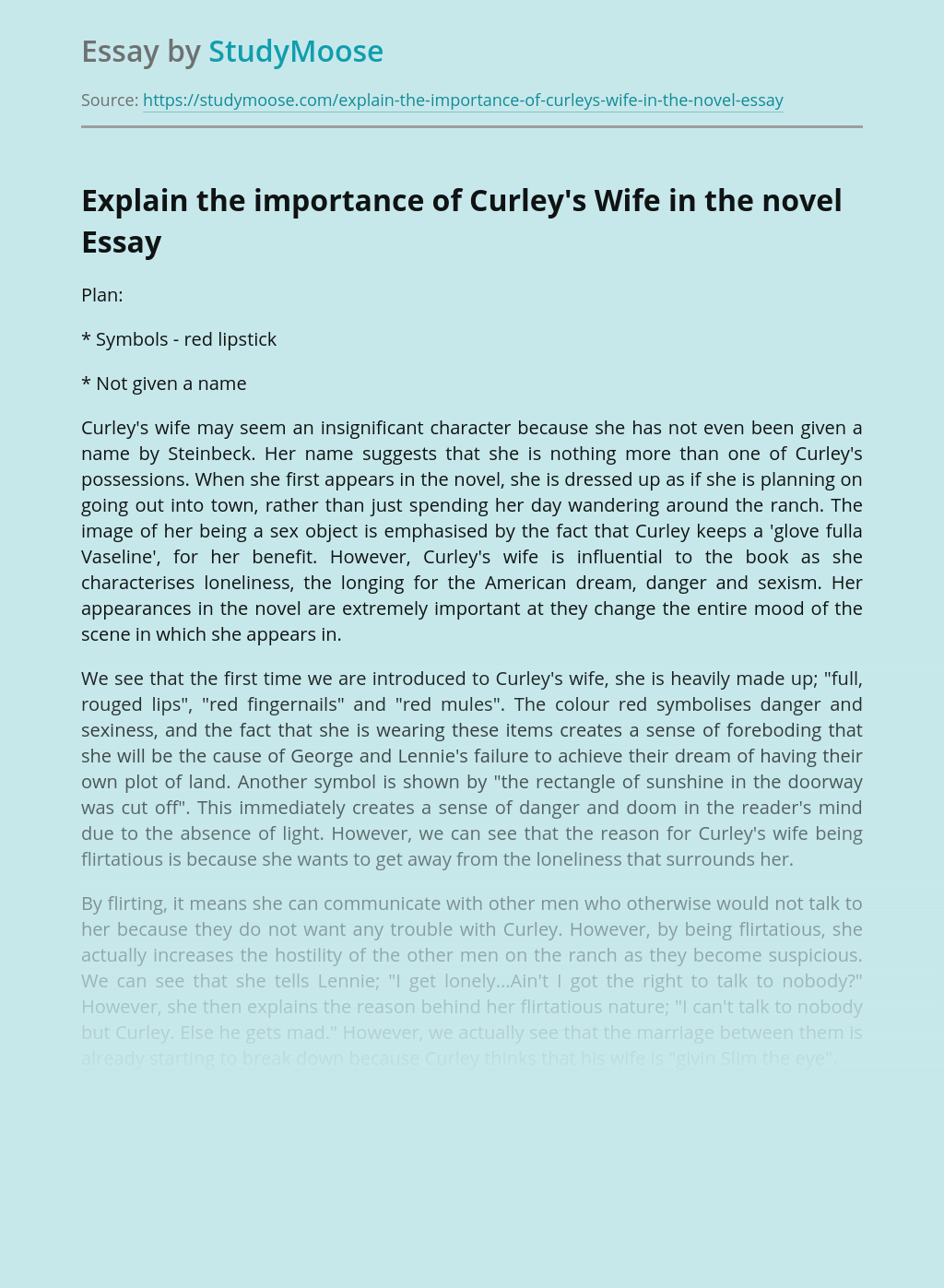 Explain the importance of Curley's Wife in the novel