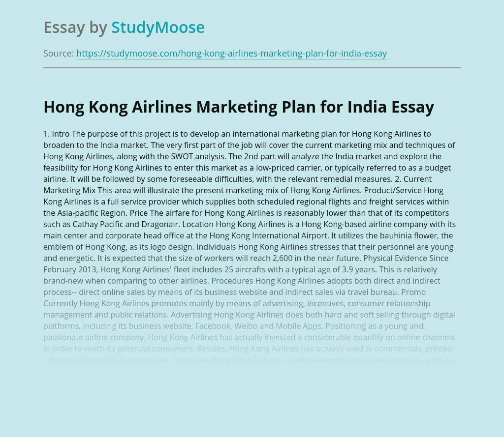 Hong Kong Airlines Marketing Plan for India