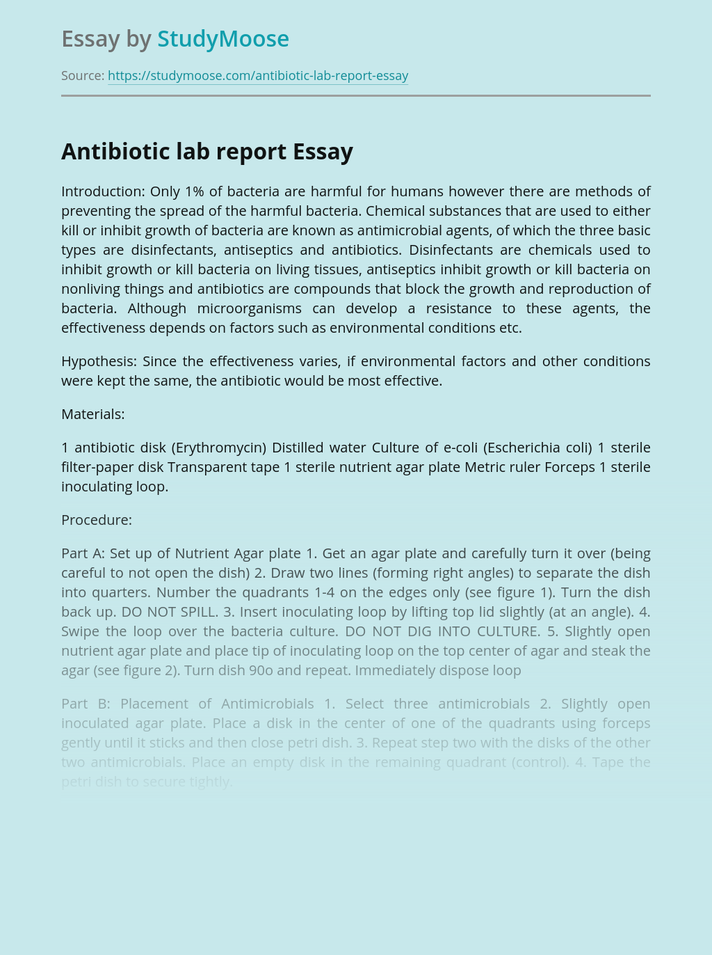 Antibiotic lab report