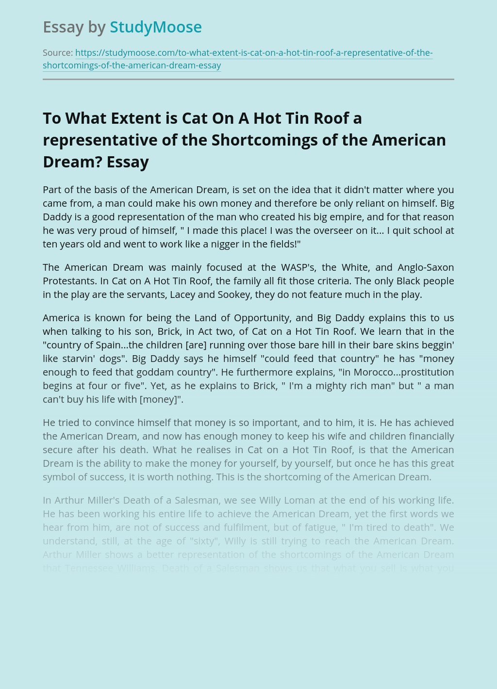 To What Extent is Cat On A Hot Tin Roof a representative of the Shortcomings of the American Dream?