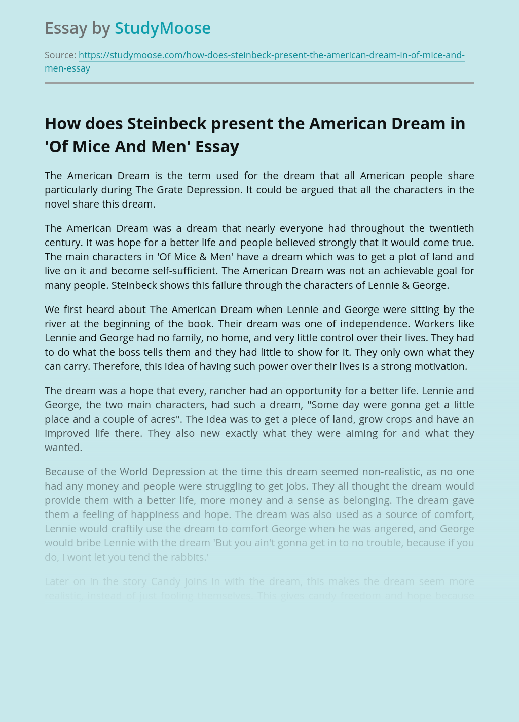 How does Steinbeck present the American Dream in'Of Mice And Men'