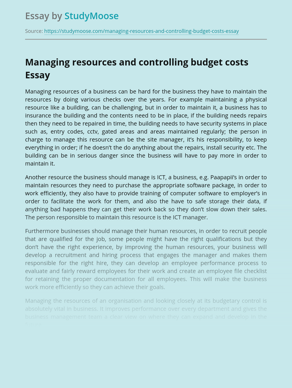 Managing resources and controlling budget costs