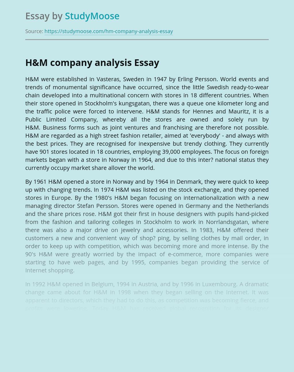 H&M company analysis