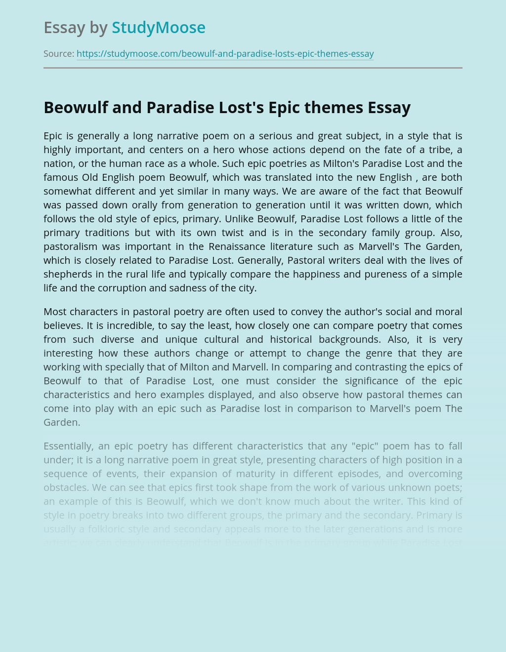 Beowulf and Paradise Lost's Epic themes