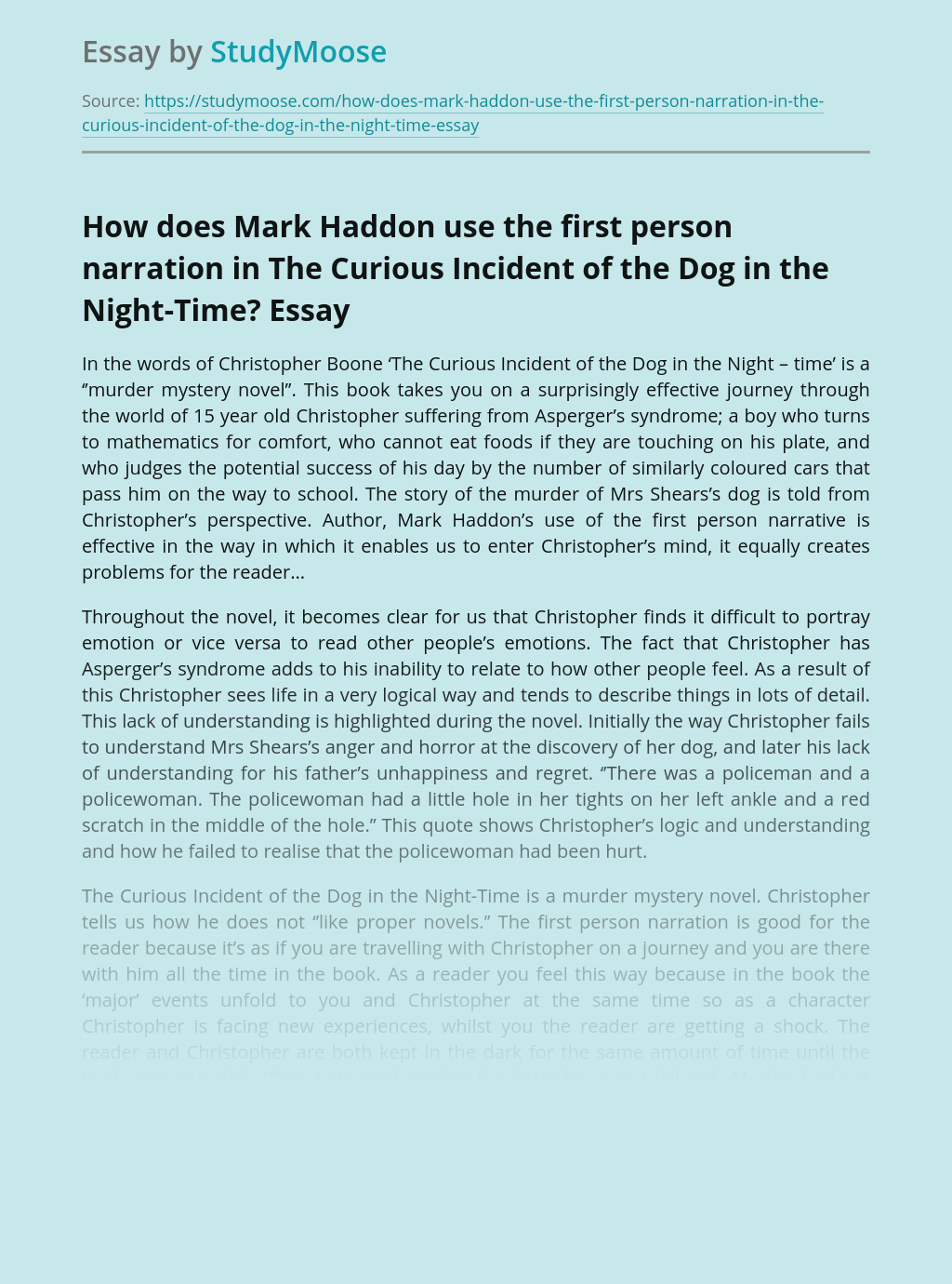 How does Mark Haddon use the first person narration in The Curious Incident of the Dog in the Night-Time?