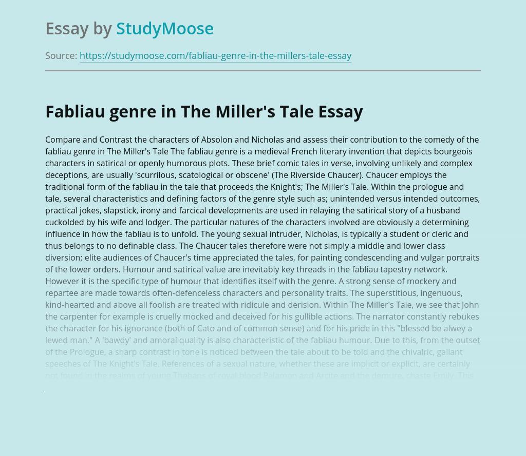 Fabliau genre in The Miller's Tale