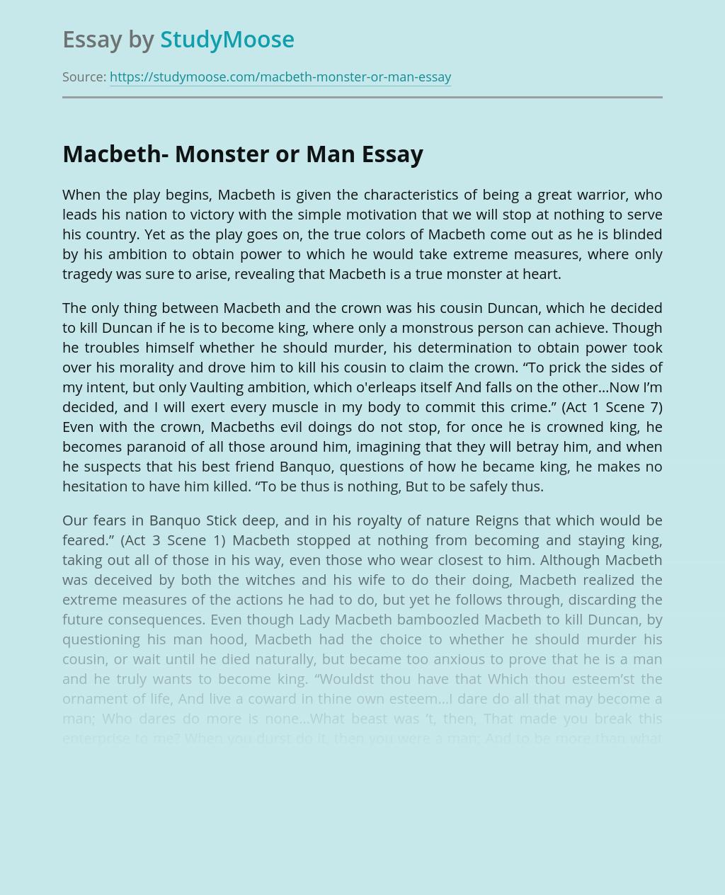 Macbeth- Monster or Man