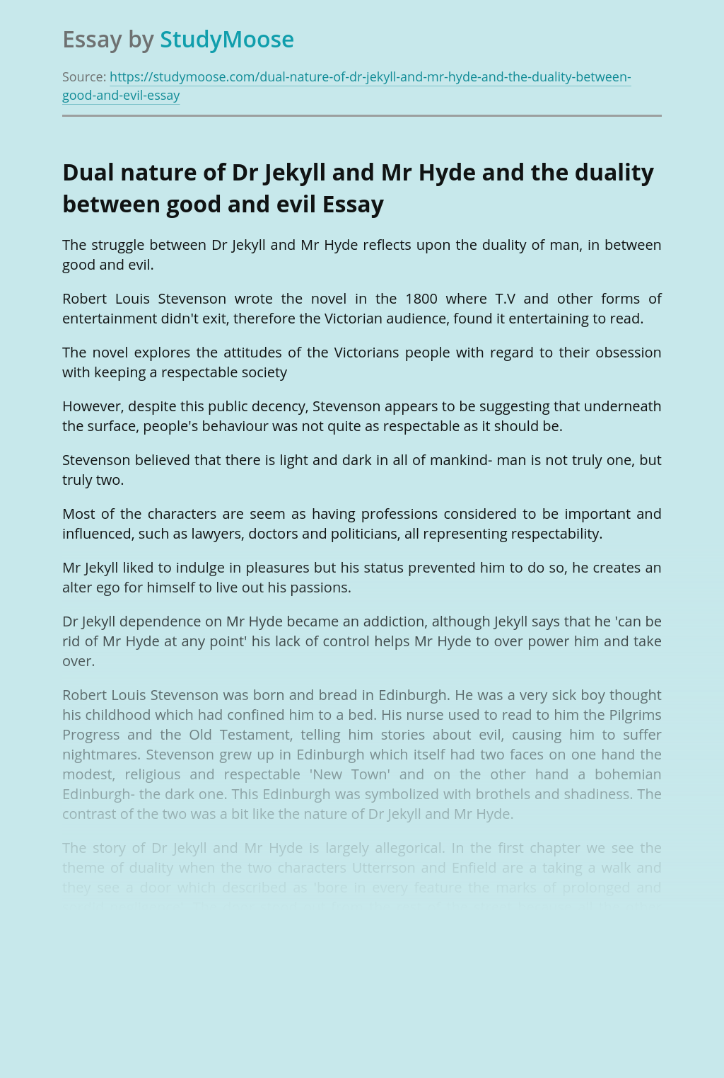 Dual nature of Dr Jekyll and Mr Hyde and the duality between good and evil