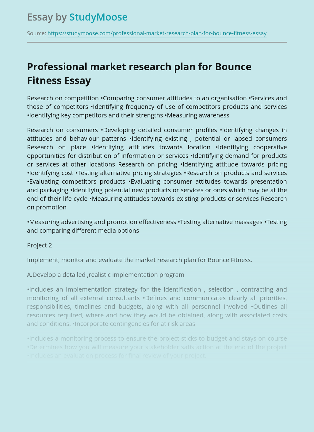 Professional market research plan for Bounce Fitness