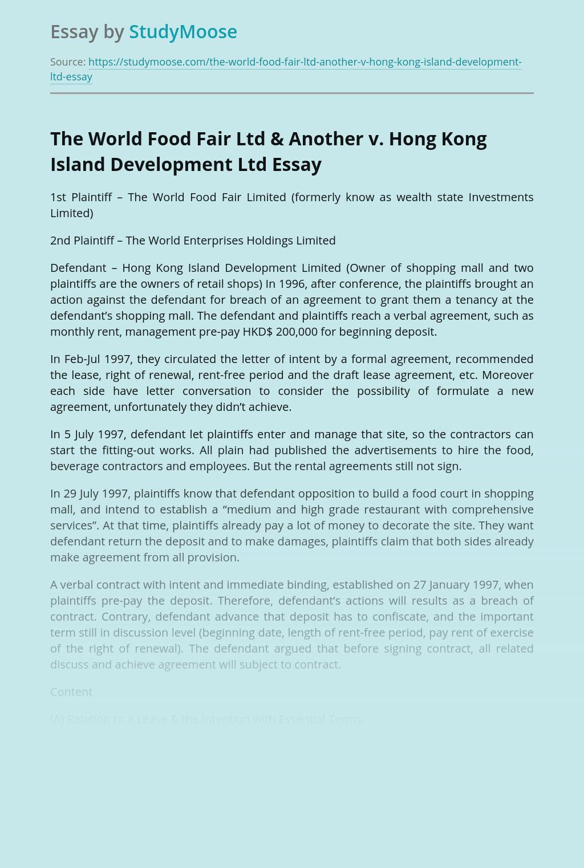 The World Food Fair Ltd & Another v. Hong Kong Island Development Ltd