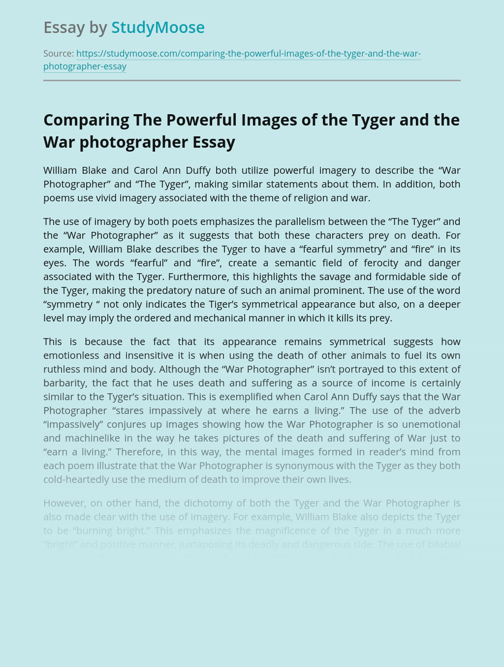 Comparing The Powerful Images of the Tyger and the War photographer