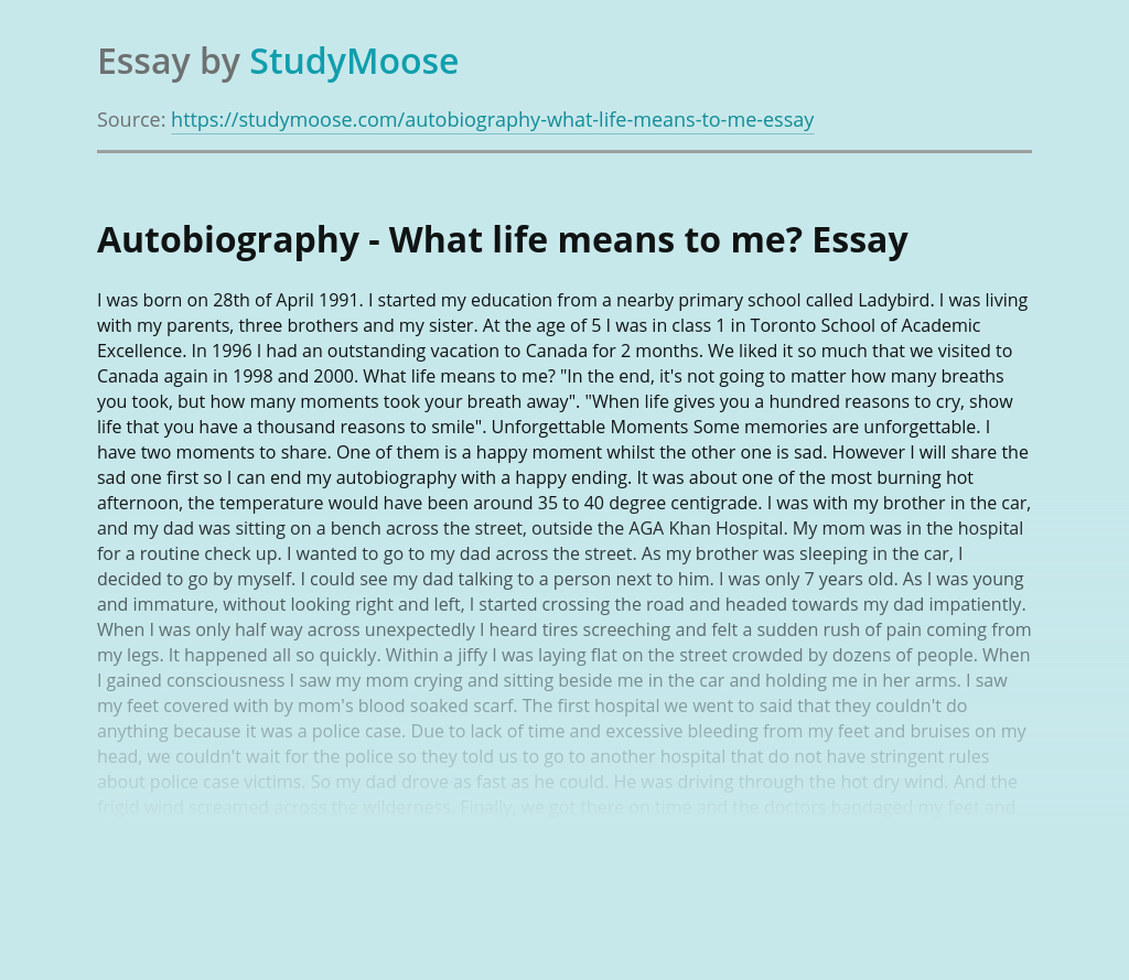 Autobiography - What life means to me?