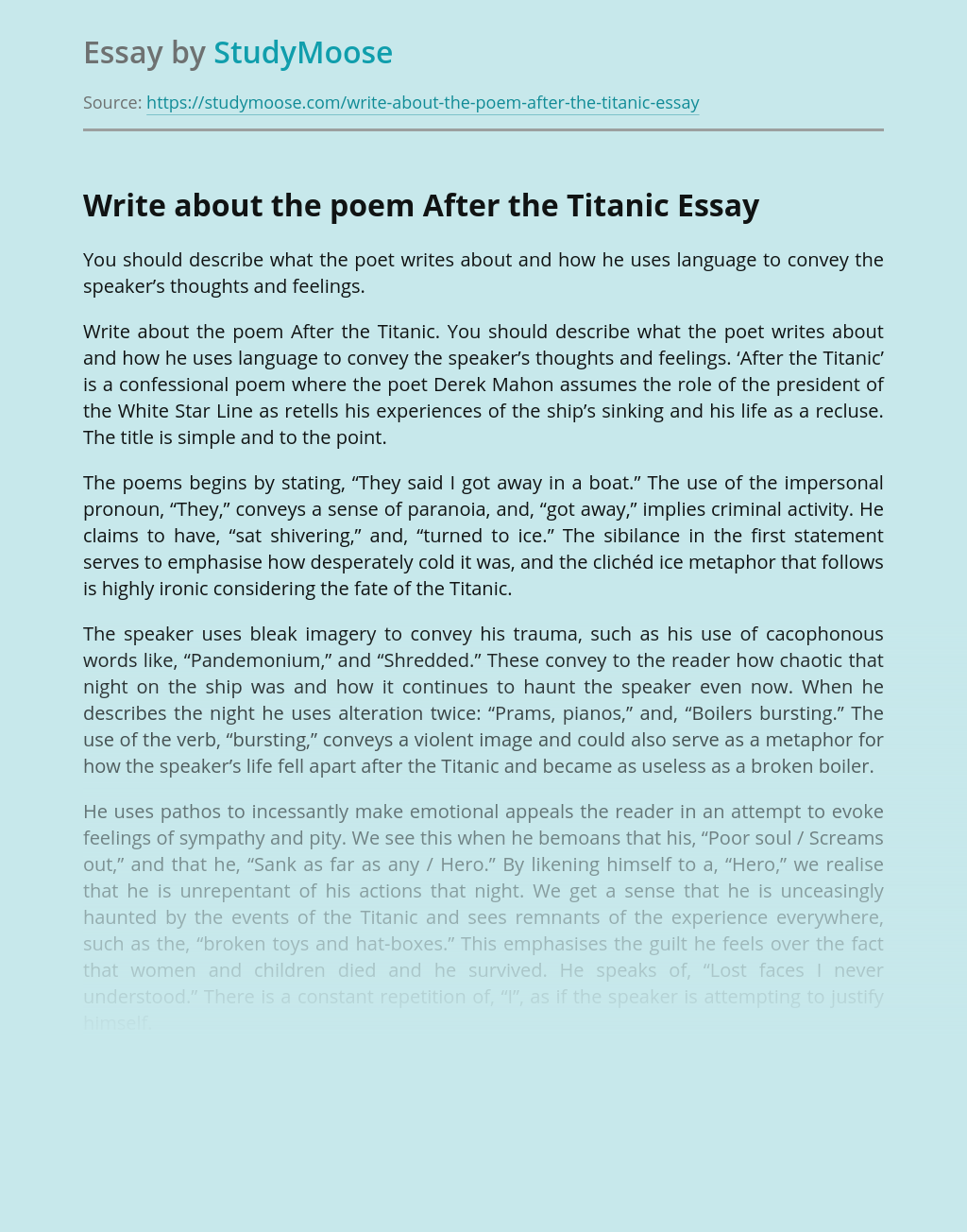 A Poem After the Titanic by Derek Mahon