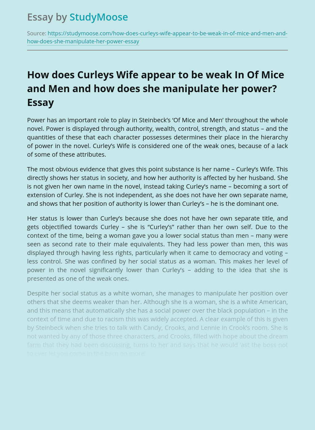 How does Curleys Wife appear to be weak In Of Mice and Men and how does she manipulate her power?