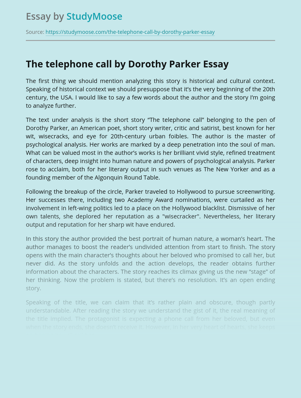 The telephone call by Dorothy Parker