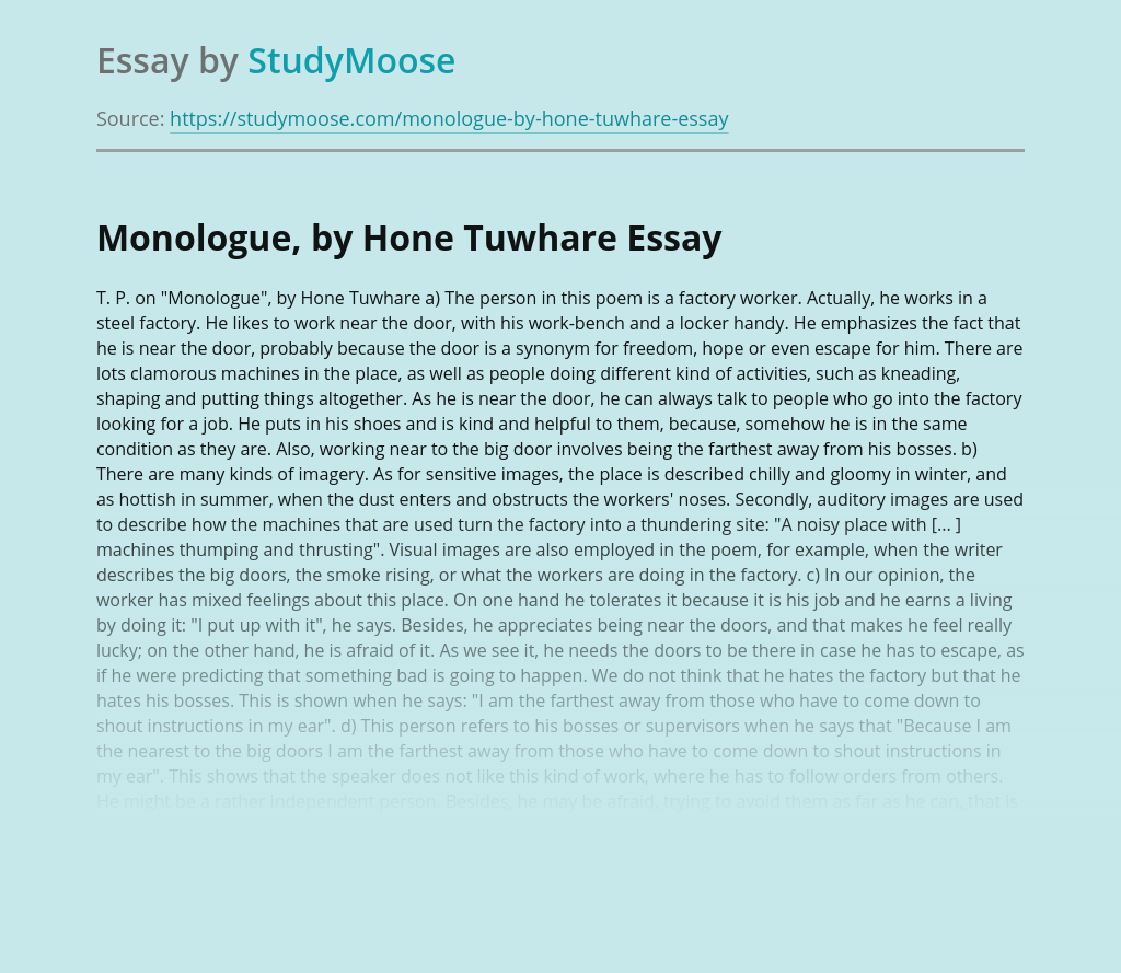 Monologue, by Hone Tuwhare