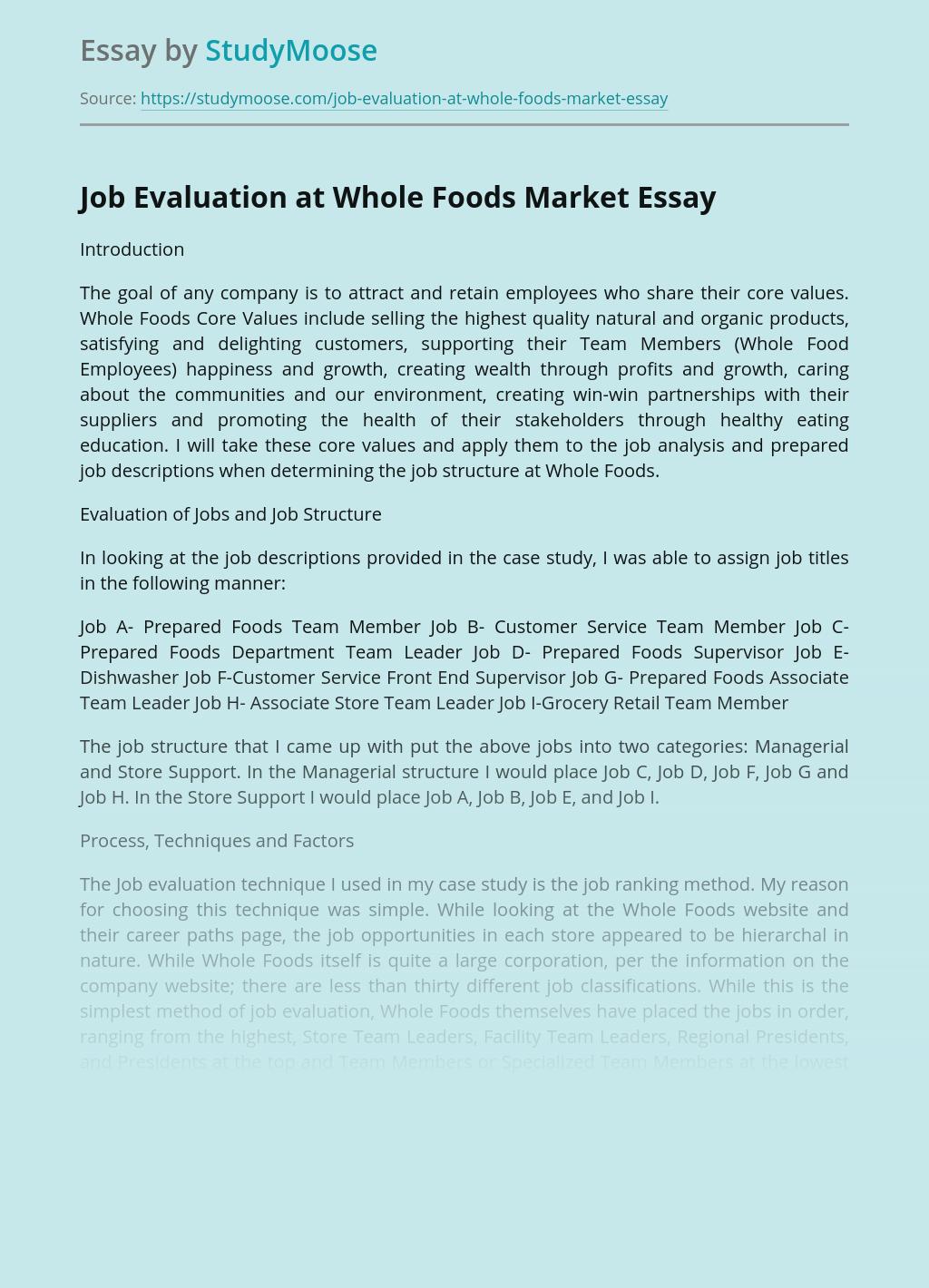 Job Evaluation at Whole Foods Market