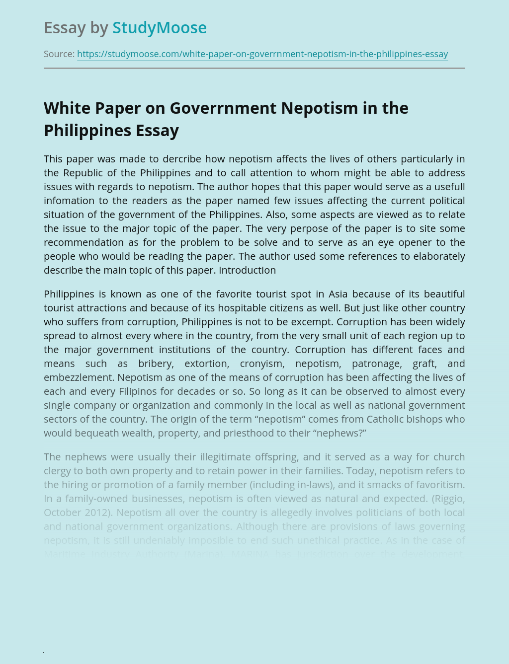 White Paper on Goverrnment Nepotism in the Philippines
