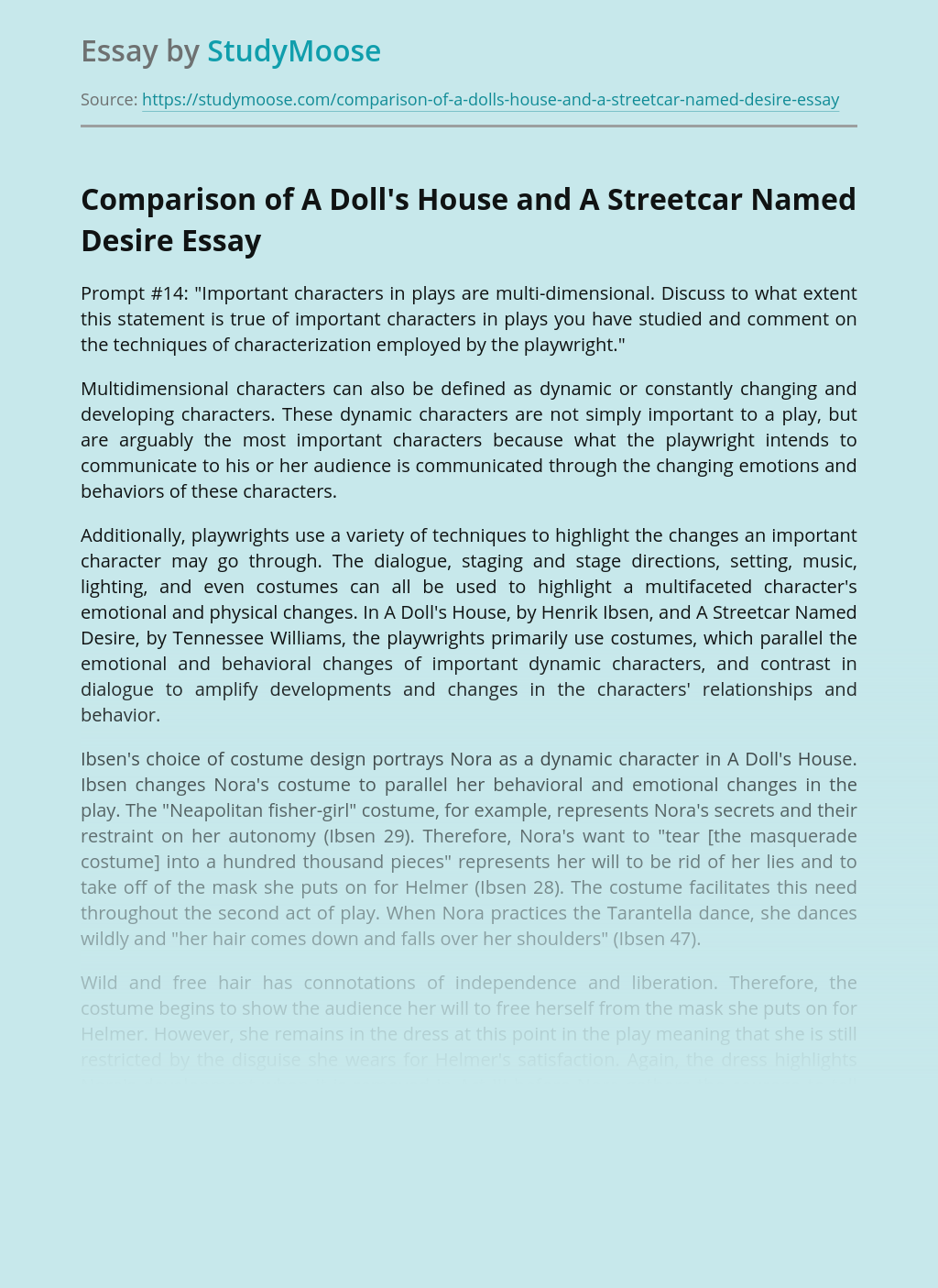 Comparison of A Doll's House and A Streetcar Named Desire