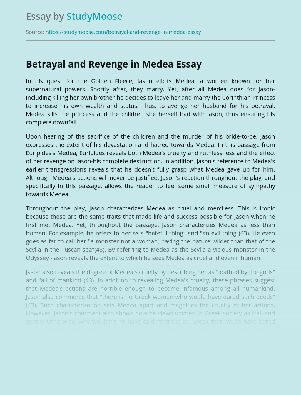 Betrayal and Revenge in Medea