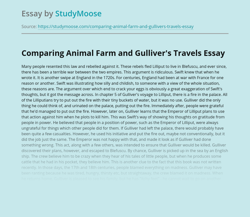 Comparing Animal Farm and Gulliver's Travels