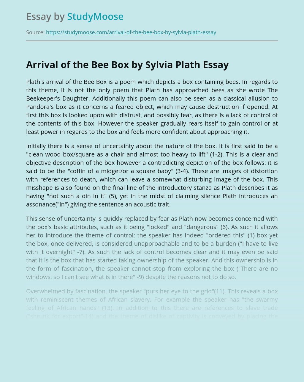 Symbolism in The Arrival of the Bee Box