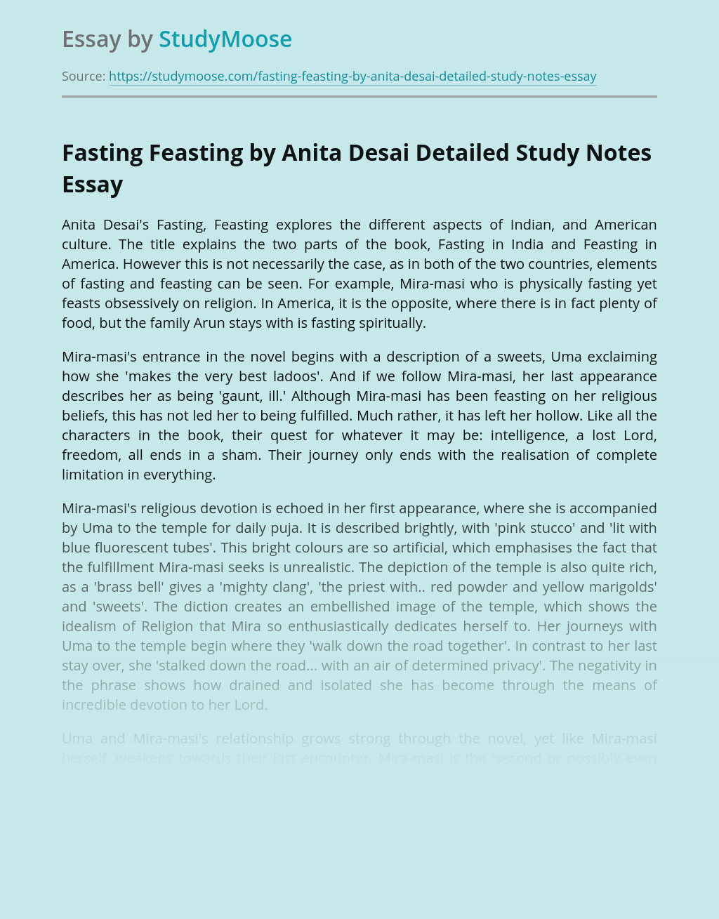 Fasting Feasting by Anita Desai Detailed Study Notes