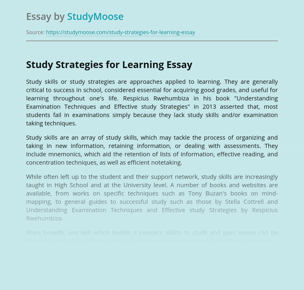 Study Strategies for Learning
