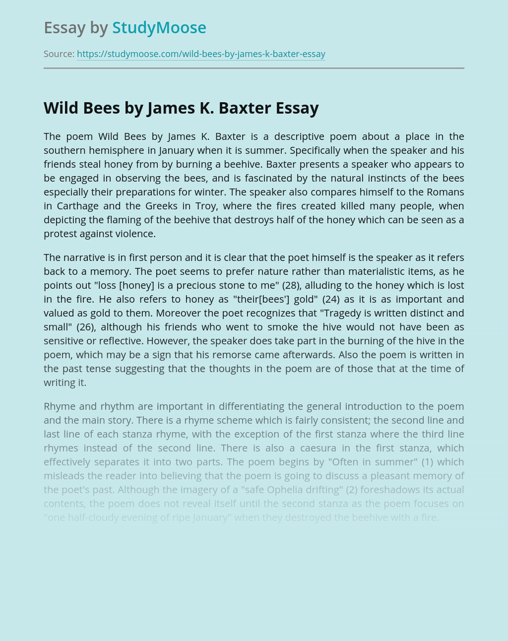 Wild Bees by James K. Baxter