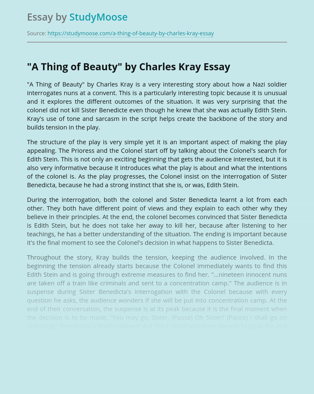 """""""A Thing of Beauty"""" by Charles Kray"""