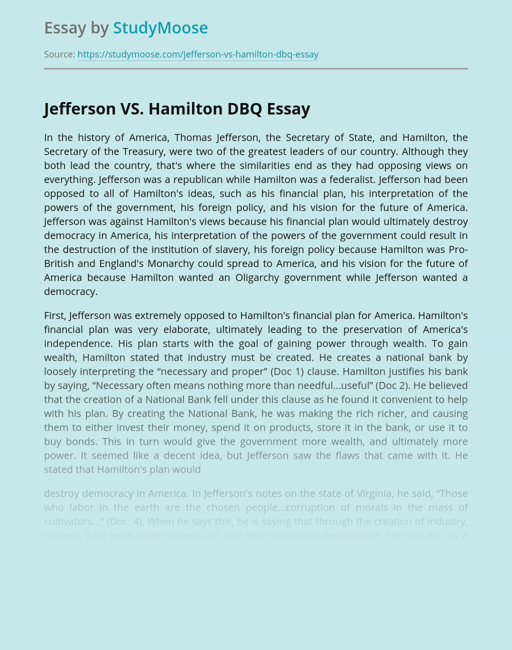 Jefferson VS. Hamilton DBQ
