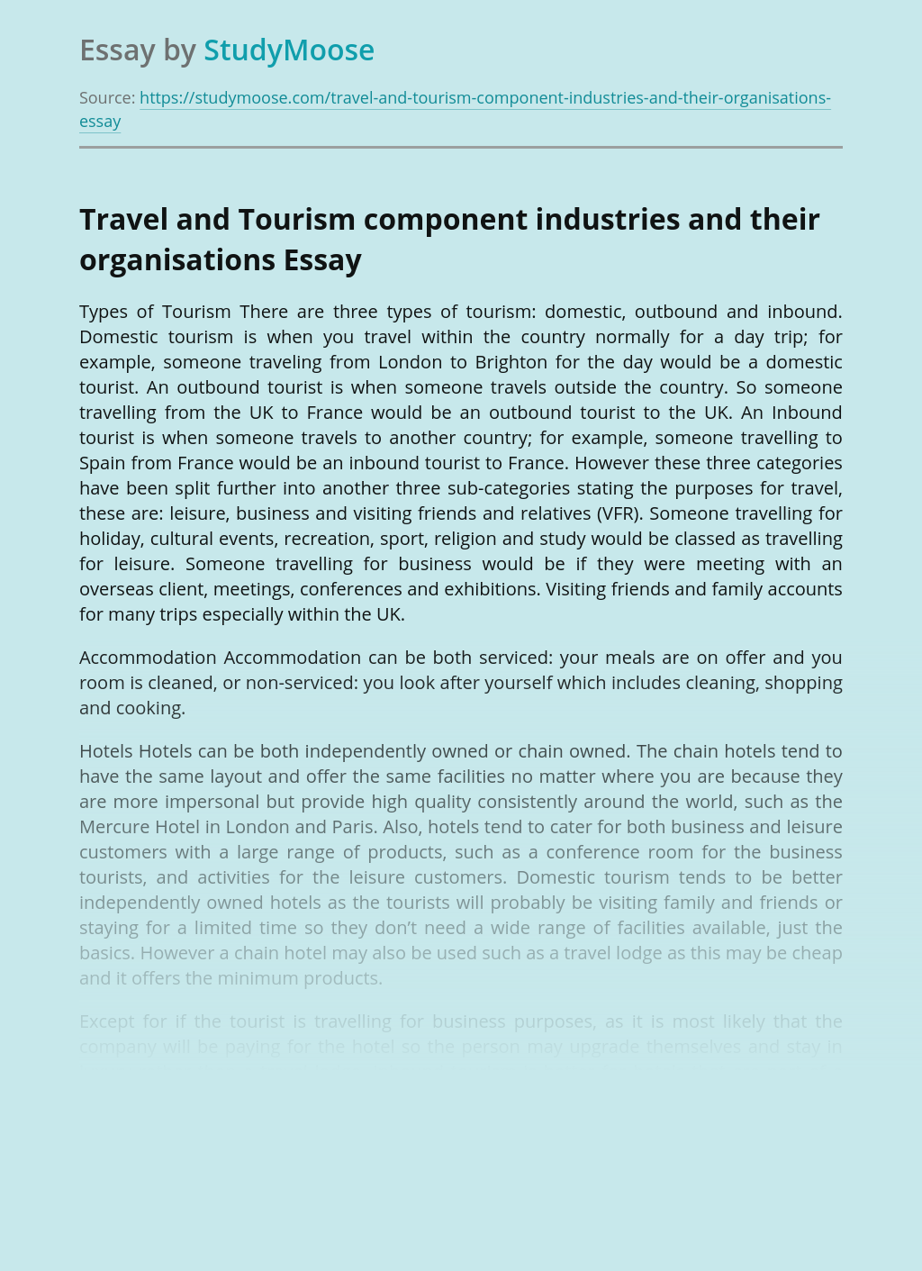 ?Travel and Tourism component industries and their organisations